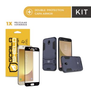 Kit Capa Armor e Película Coverage Color Preta para Galaxy J7 Pro - Gorila Shield