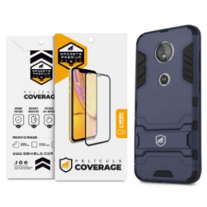 Kit Capa Armor e Película Coverage Color Preta para Moto G6 Play - Gshield