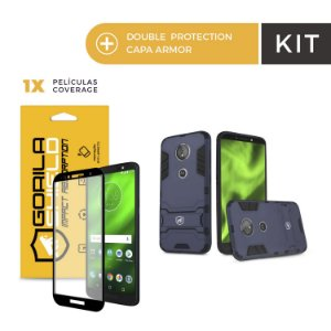 Kit Capa Armor e Película Coverage Color Preta para Moto G6 Play - Gorila Shield