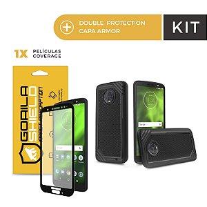 Kit Capa Tech Grip e Película Coverage Color Preta para Moto G6 - Gorila Shield