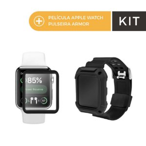 Kit Pelicula de Nano Gel Dupla com Bordas Pretas e Pulseira Armor para Apple Watch 42mm - Gorila Shield