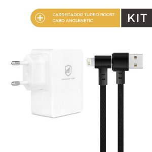 Kit Carregador Turbo Boost e Cabo Anglenetic Lightning - Gorila Shield
