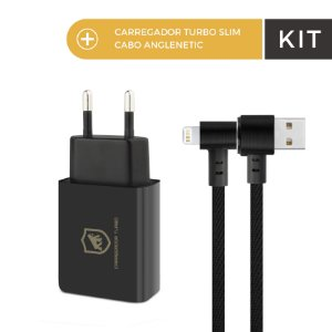 Kit Carregador Turbo Slim Preto e Cabo Anglenetic Lightning - Gorila Shield