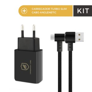 Kit Carregador Turbo Slim Preto e Cabo Anglenetic V8 - Gorila Shield