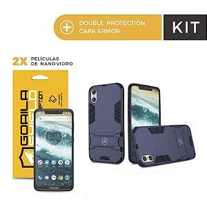 Kit Capa Armor e Película Nano Vidro Dupla para Motorola One - Gorila Shield