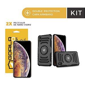 Kit Capa Armband e Película Vidro Dupla para iPhone Xs - Gorila Shield