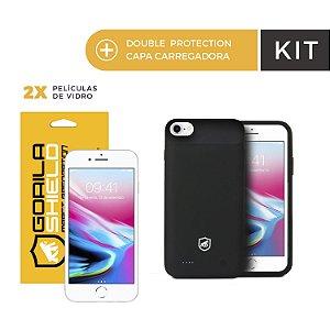 Kit Capa Carregadora e Película de Vidro Dupla para iPhone 8 - Gorila Shield