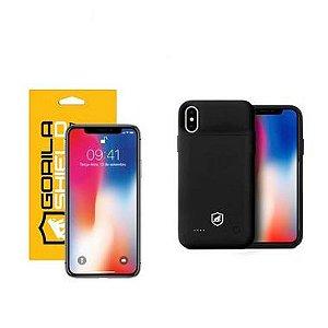 Kit Capa Carregadora e Película de Vidro Dupla para iPhone X e iPhone XS - Gorila Shield