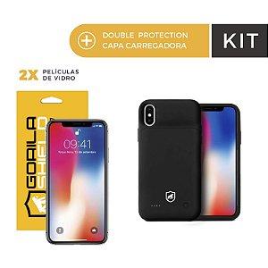 Kit Capa Carregadora e Película de Vidro Dupla para iPhone X e XS - Gorila Shield