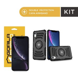 Kit Capa Armband e Película de Nano Vidro para iPhone XR - Gorila Shield