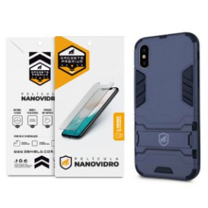 Kit Capa Armor e Película Nano Vidro para iPhone XS Max - Gshield