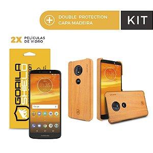 Kit Capa Madeira Peroba Clara e Película de Vidro Dupla para Moto E5 - Gorila Shield