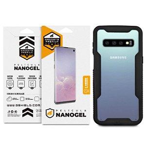 [ Super Proteção ] Capa Dual Shock + Película de Nano Gel Dupla para Samsung Galaxy S10 Plus - Gshield