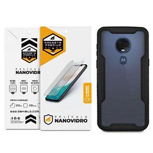 Kit Capa Dual Shock e Película de Nano Vidro para Motorola Moto G7 - Gshield
