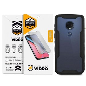 Kit Capa Dual Shock e Película de Vidro Dupla para Motorola Moto G7 - Gshield