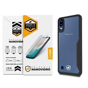 Kit Capa Atomic Preta e Película de Nano Vidro Samsung Galaxy A10 - Gshield