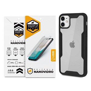Kit Capa Dual Shock e Película Nano Vidro para iPhone 11 - Gshield