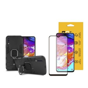 Kit Capa Defender Black e Película Coverage Color para Samsung Galaxy A70 - GShield