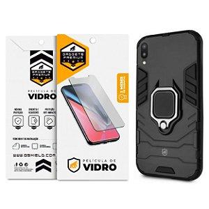 Kit Capa Defender Black e Película de Vidro Dupla para Samsung Galaxy M10 - GShield