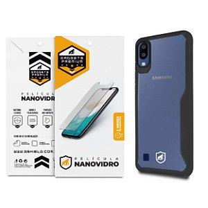 Kit Capa Atomic Preta e Película de Nano Vidro para Samsung Galaxy M10 - GShield