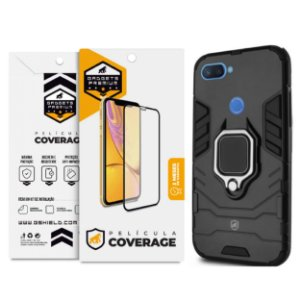 Kit Capa Defender Black e Película Coverage Color para Xiaomi Mi 8 Lite - GShield
