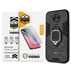 Kit Capa Defender Black e Película de Vidro Dupla para Motorola Moto G7 Power - GShield