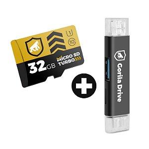 Kit Cartão de Memória Turbo 32GB U1 + Adaptador Pendrive OTG Micro USB - GShield