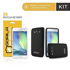 Kit Capa Protetora Samsung Galaxy A3 e Pelicula de Vidro  - Double Protection - Gorila Shield