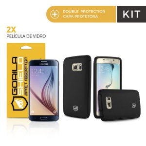 Kit Capa Protetora Samsung Galaxy S6 e Pelicula de Vidro - Double Protection  - Gorila Shield