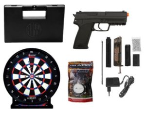 KIT PARA AIRSOFT PISTOLA ELÉTRICA CYMA CM125 6MM + CASE + 2000 BBS + ALVO GEL TRAP
