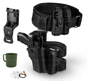 Kit Coldre Perna Hammer II + Suporte Cintura + Cinto + Porta Carregador Bélica