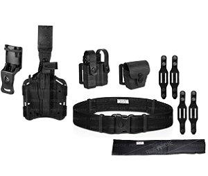 Kit Porta carregador e Algema+Coldre de Perna e Cintura Hunter+Cinto+Belt Keeper