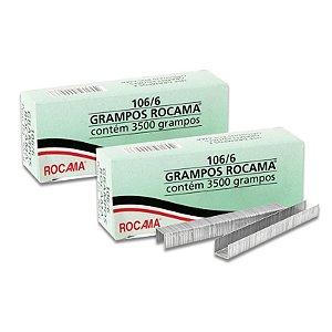 Kit com 2 Caixas de Grampos 6mm 106-6 Polidos para Grampeador Rocama
