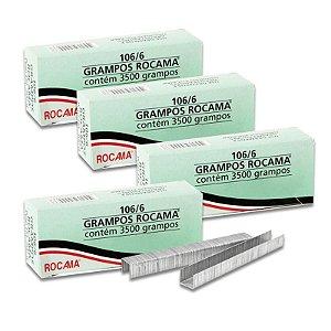 Kit com 4 Caixas de Grampos 6mm 106-6 Polidos para Grampeador Rocama