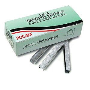 Caixa com 2500 Grampos 8mm 106-8 Polidos para Grampeador Rocama