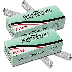 Kit com 2 Caixas de Grampos 8mm 106-8 Polidos para Grampeadores Rocama