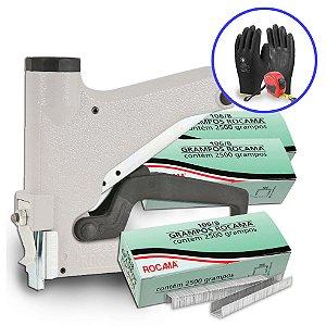 Kit Grampeador Manual 51-A com Grampos 8mm Polidos Rocama + Luva e Trena