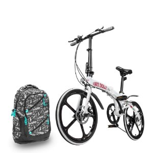 Bicicleta Pliage Alloy + Mochila Casual c/ USB 30L Two Dogs
