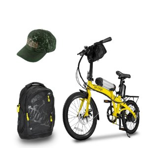 Bicicleta Pliage Plus Elétrica + Mochila Casual c/ USB 30L + Boné Adventures Aba Curva Two Dogs