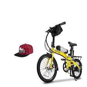 Bicicleta Pliage Plus Elétrica + Boné Xadrez Aba Reta Twodogs