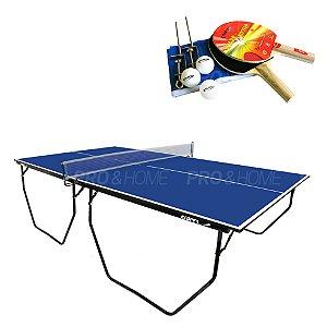 Kit Ping-Pong Mesa 1009 Dobrável com Acessórios, Rede, Bolinhas Klopf