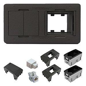 Caixa Elétrica 4 Blocos para Mesa com USB e RJ45 QTmov