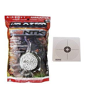 Munição Airsoft BBs 0.20g 5000 Und Nautika + Alvo de Papel 14cm com 10 Und.