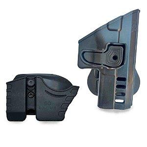 Kit Coldre Cintura Paddle TS9 Só Coldres com Porta Carregador e Porta Algemas Conjugado