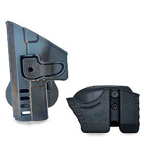 Kit Coldre Paddle TS9 com Porta Carregador e Porta Algemas Conjugado Corrente Só Coldres
