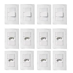 Kit Espelho Completo 12x + Interruptor 10A 4x + Tomada 10A 8x Tendenza Pezzi