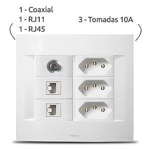 Espelho Completo + Coaxial + RJ11 +RJ45 + Tomada 10A 3x Pezzi