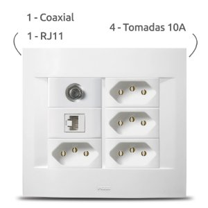 Espelho Completo 4x4 Sublime + Coaxial + RJ11 + Tomada 10A 4x Pezzi