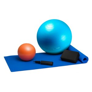 Kit Pilates - Bola Suíça Azul 65cm + Overball + Bloco + Tapete