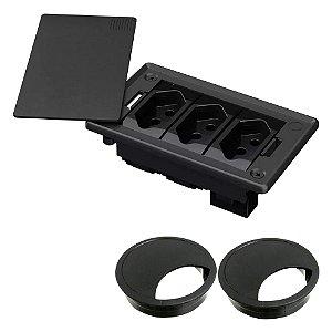 Caixa Elétrica 3 Blocos para Mesa com 3 Tomadas 10A QTmov + Passa Fio